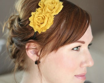 Mustard Flower Headband, Adult Shabby Chic Headband for Girls and Women, Headband for Family Pictures,