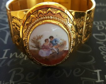 Victorian Style Cameo Hinged Bracelet Bangle Floral Stamped Vintage Jewelry