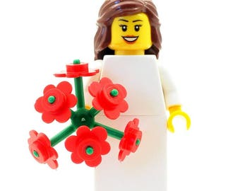 Wedding Bride with Large Bouquet of Flowers Made From LEGO Parts