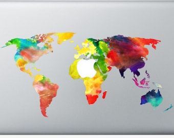Sticker Macbook - Watercolor Worldmap - Decal for MacBook Air Pro Retina - 11 12 13 15 or 17 inches - Skin for macbook easy to stick