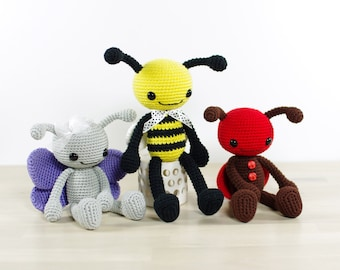 PATTERN: Bee, Butterfly and Ladybug - Long-legged insects - Amigurumi tutorial with photos (EN-027)