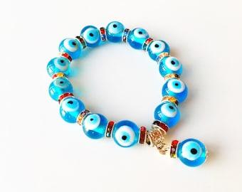 FREE SHIPPING Evil eye charm bracelet, glass evil eye bracelet, evil eye bangle bracelet, blue evil eye bracelet, turkish evil eye handmade