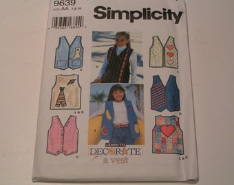 Simplicity Pattern 9639 learn to decorate a vest Girl Boy Set of Vest