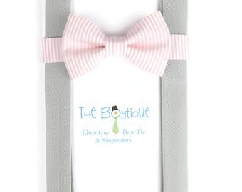 Blush Stripe Bow Tie, Grey Suspenders, Adult Suspenders, Toddler Suspenders, Pink, Peony, Carnation, Ring Bearer Gift, Mens Blush Bow Tie