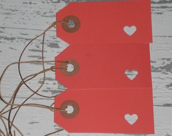 Quantities of 12, 24 or 50 - Valentine's February 14 LOVE RED Hearts Card Stock Primitive Hang Tags Tie Ons Gift Tag Scrapbooking Ornaments