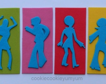 6 dancing edible DISCO PARTY PEOPLE silohouette cake topper 70's dancer cupcake wedding topper decoration party wedding anniversary birthday