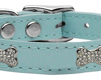 Crystal Bone Leather Dog Collar Many Colors and Sizes