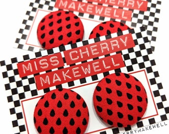 Red Watermelon Polka Dot Pips Rockabilly 1950's Pin Up Vintage Inspired Stud or Clip On Fabric Button Earrings By Miss Cherry Makewell