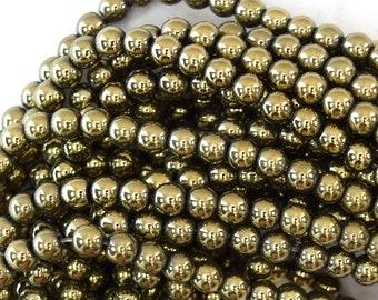 """4mm pyrite hematite round beads 15.5"""" strand 36169"""