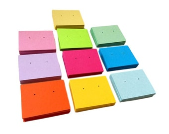 Earring cards, variety of colors,, jewelry cards, post holed, 2 x 2.5 inch cards, set of 30