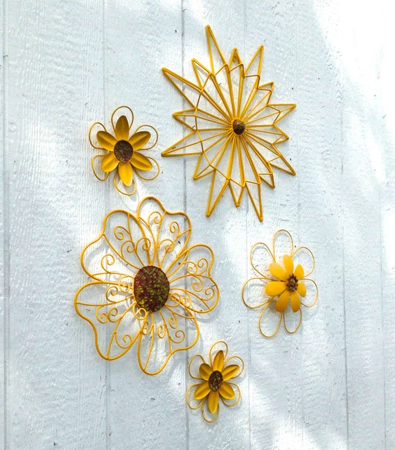Bright Yellow Metal Flower Wall Art Set of 5 Fence or Wall