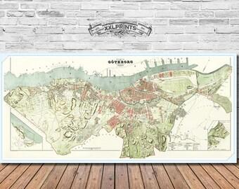 Antique map of Goteborg, 1888, fine reproduction, vintage decor, fine art print