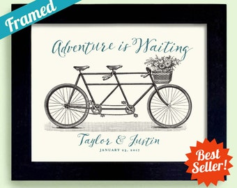 Wedding Gift, Adventure Awaits, for Newlywed Couple Wedding Sign Personalized Wedding Unique Engagement Gift Tandem Bicycle Framed Art Print