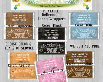 Retirement Party Favors Hershey's Candy Bar Wrappers Printable DIY Digital PDF