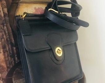 Vintage Coach Black Murphy Handbag // Coach Messenger Bag // Coach Leather Crossbody Bag // Made In Italy # 3212-217