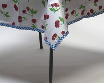 Oilcloth Tablecloth Cherry White with Gingham Blue Trim