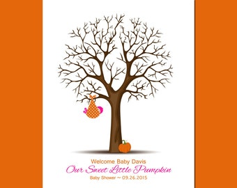 Fall Baby Shower Decor, Baby Shower Guestbook Tree, Guestbook Thumbprint tree,  Thumbprint Tree, Baby Boy Shower Gift, Baby Girl Shower Gift