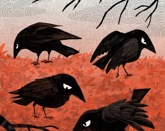 Crow Fall 5x7 inch art print
