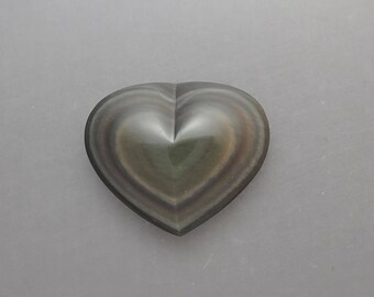 Carved Rainbow Obsidian Heart