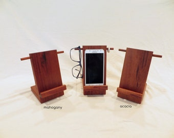 Wooden bedside valet stand, personal organizer, made from walnut and cherry