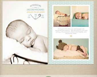5x7 Birth Announcement Photo Card Template, Newborn Announcement, Introducing, Multiple Photos, Baby Boy, Baby Girl, Modern Design  - B33