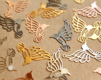 10 pc. Laser Cut Hummingbird Charms, 26mm by 15mm, Multiple Colors Available | MIS-072