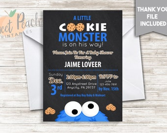Cookie Monster Baby Shower Invite 5x7 Digital Personalized Baby Sprinkle Invitation Cookies Blue Black White #51.0