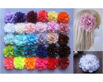 10cm Girls Chiffon Gold Polk Dots Flower Hair Clips Grips Slides Bobbles Pin