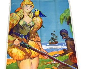 "ORIGINAL Large 1933 ""Robinson Crusoe"" From British Play-3 Sheet 88 X 40""-Unused"