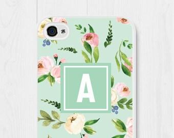 Monogram iPhone Case Floral iPhone 7 Case Mint iPhone 6 Case Floral iPhone 5s Case Mint iPhone SE Case Personalized iPhone 5c Case