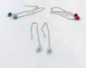 Threader earrings, minimalist, silver threader earrings, stone bead threader earrings