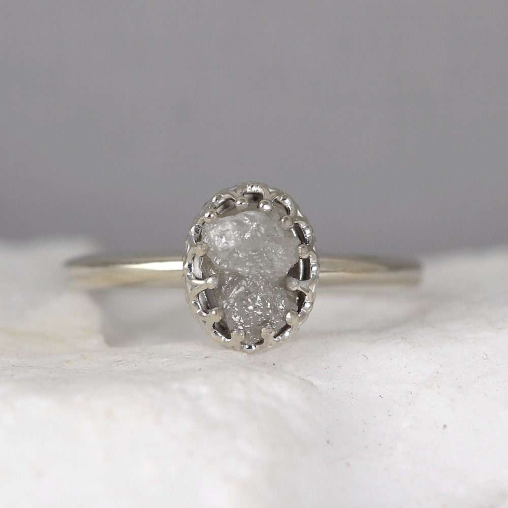 White gold raw diamond ring vintage style setting 14k gold zoom junglespirit Image collections