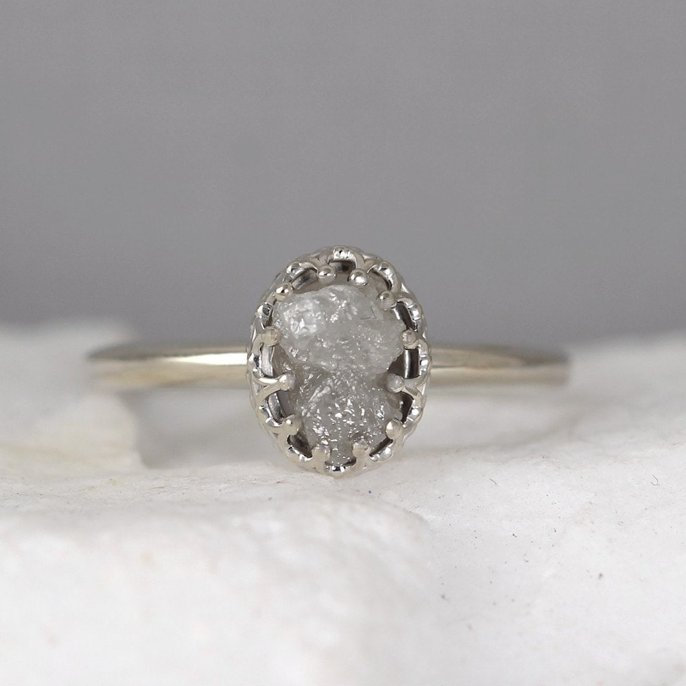 cloud wedding rough etsy white rose gold diamond engagement of grabber rings beautiful gray ring