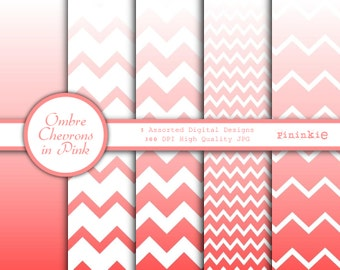 Pink Ombre Digital Paper - Pink Chevrons - Ombre Chevron Scrapbooking Paper - Instant Download - Commercial Use CU - Digital Sc