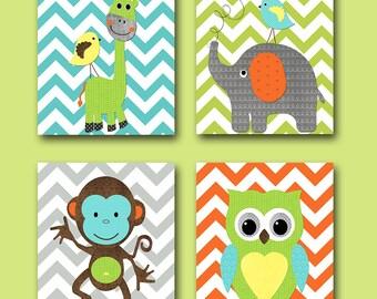 Digital Nursery Art Nursery Digital Print Printable Nursery Art Instant Download Art Kids Art Baby Boy Nursery Art Decor set of 4 8x10 11X14