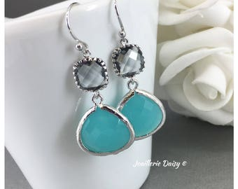 Bridesmaid Gift Grey and Mint Earrings Blue Earrings Aqua Earrings Tiffany Blue Maid of Honor Gift Mother of Groom Gift Mother of Bride Gift