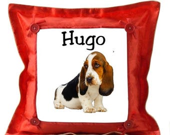 Red cushion dog basset hound personalized with name