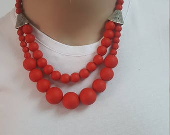 FREE SHIPPING-Statement necklace. Double red necklace.Short silicon necklace. Chunky boho necklace.