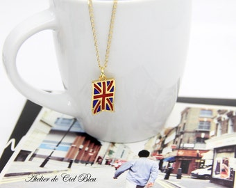 World Cup 2018, UK Flag Necklace, United Kingdom Flag Necklace, British Flag, UK Flag, British Flag Charm, Pendant, Flag Jewelry