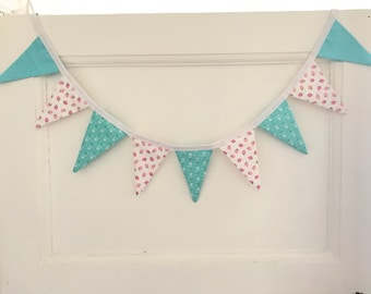 Mini Strawberries and Floral Fabric Bunting Flags, Pink Strawberry Flower Banner, Wall Art Decor, Garland, Pennant