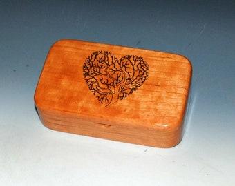 Tree of Life Heart Box - Engraved Cherry Wood Treasure Box, Gift Box, Trinket Box, Stash Box- Small Wooden Box, Jewelry Box, Keepsake Box