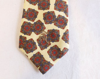 Vintage Men's Necktie Countess Mara - Yellow blue red - silk
