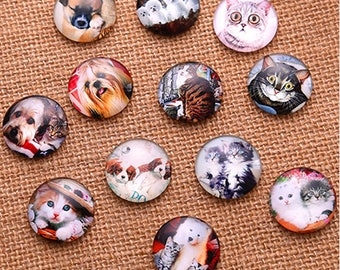 Set of 5 Cabochons dogs and cats