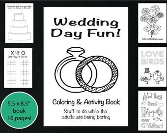 Wedding Coloring and Activity Book, Reception Game, Kid's Wedding Coloring Book, Wedding Coloring Page, Wedding Word Search, Printable