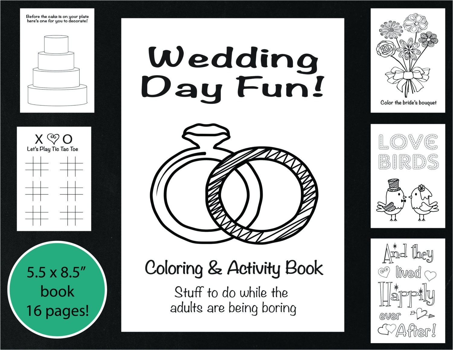 Wedding Coloring and Activity Book Reception Game Kid\'s
