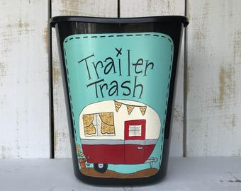 Trailer Trash Can, Small Trailer Trash Can, Camper Decor, Trailer Decor, Glamper Decor, Funny Trash Can, Camping Decor, Camp Decor