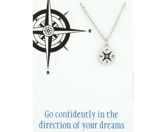 Go confidently in the direction of your dreams - live the live you imagine - silver compass jewelry - silver compass neckace - wanderlust