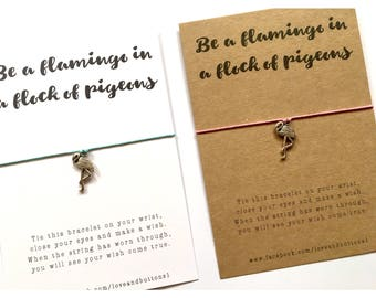 Wish Bracelet Flamingo / Make a wish / Be a flamingo / flamingo bracelet