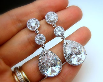 CLIP ONS Bridal earrings wedding jewelry christmas bridesmaid gift prom party clear white teardrop cubic zirconia round rhodium pageant