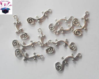 10 antique silver charms salamander 29 x 11 mm